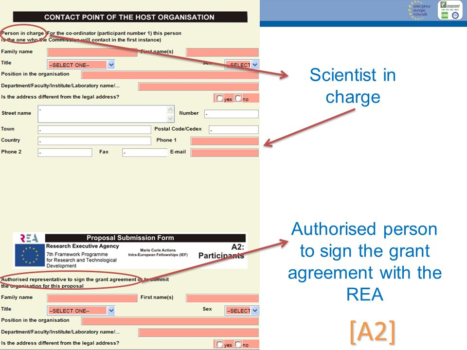 Authorised person to sign the grant agreement with the REA
