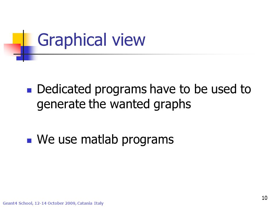 Graphical view Dedicated programs have to be used to generate the wanted graphs. We use matlab programs.