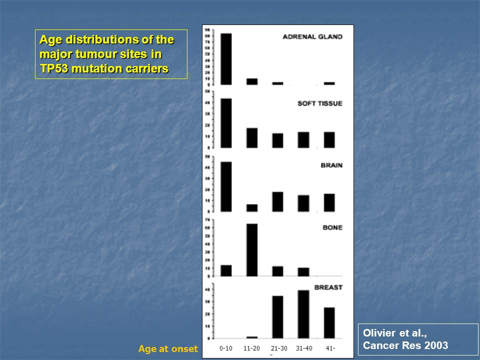 Age distributions of the major tumour sites in TP53 mutation carriers