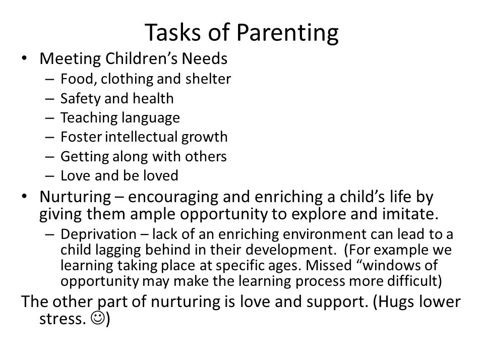 Tasks of Parenting Meeting Children's Needs