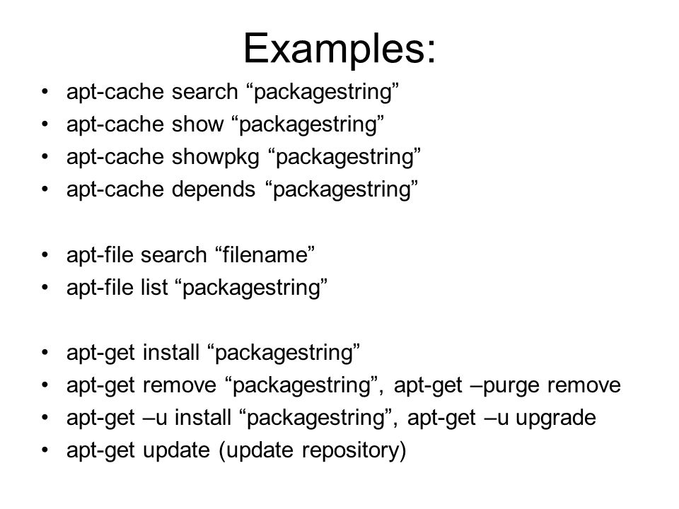 Examples: Apt Cache Search Packagestring