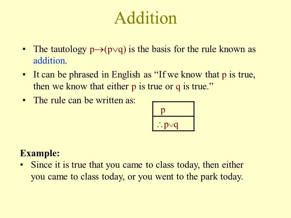 Addition The tautology p(pq) is the basis for the rule known as addition.