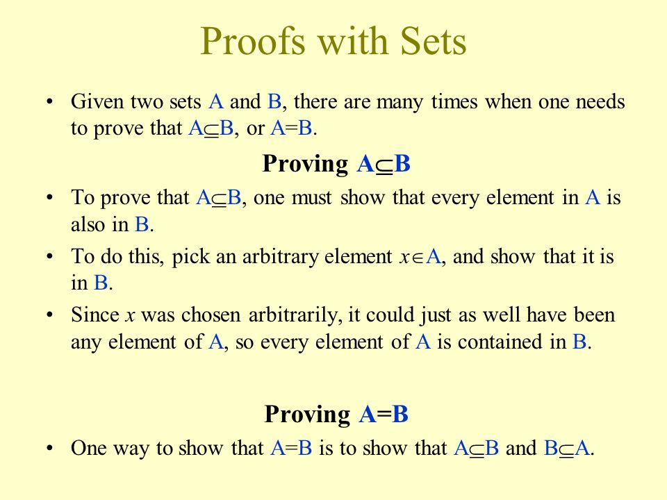 Proofs with Sets Proving AB Proving A=B