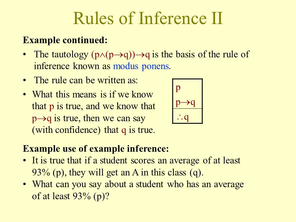 Rules of Inference II Example continued: p