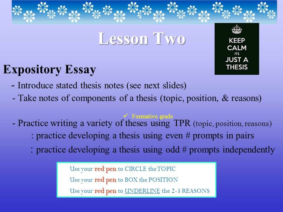 expository essay writing lesson Your academic success doesn't have to be that difficult use our help and save yourself the trouble of writing a challenging essay by yourself.