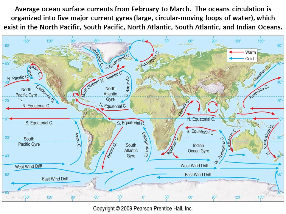 the major ocean surface current patterns essay Ocean currents can be generated by wind,  the surface currents may be very different than currents at depth, which can make launching and recovering submersibles an even greater challenge surface currents are generated largely by wind their patterns are determined by wind direction, coriolis forces from the earth's rotation, and the.