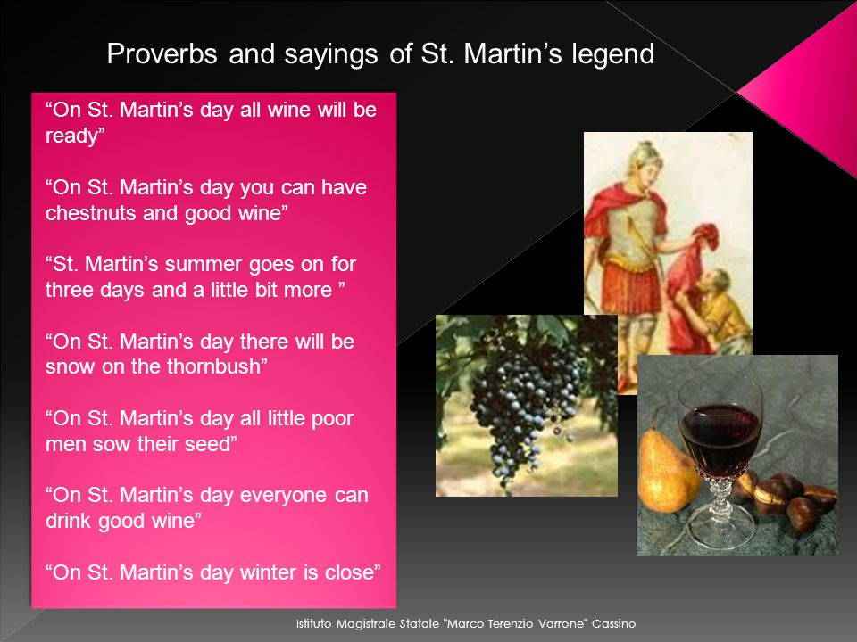 Proverbs and sayings of St. Martin's legend