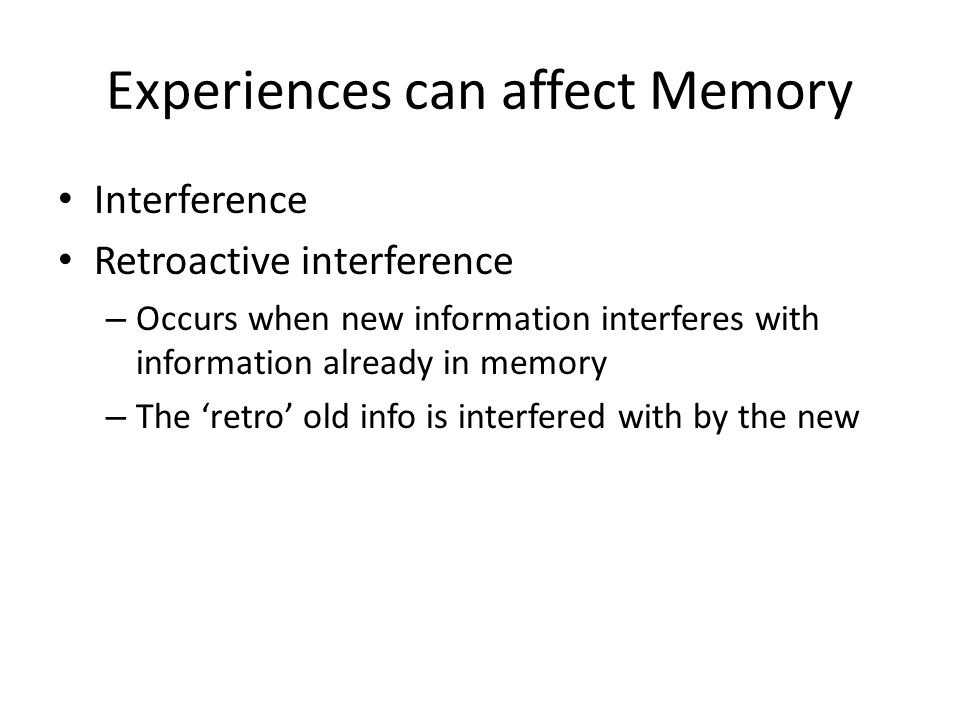 how interference affects working memory Memory and cognition demonstrations and tutorials  tasks designed to  demonstrate that working memory capacity can be affected by a  proactive  interference and release, this demonstration is based on wickens, born, and  allen (1963.