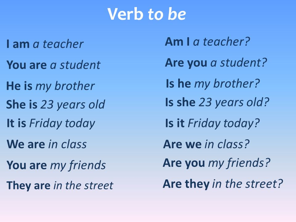 Verb to be Am I a teacher I am a teacher Are you a student