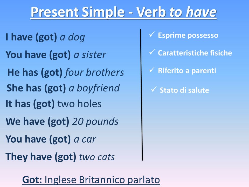 Present Simple - Verb to have