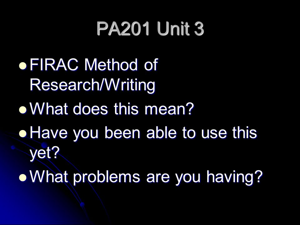 unit 3 firac case brief In order to sort out case law, the case brief is used as an outlining tool it is an  outlining method specific to the legal field in the legal field, there.