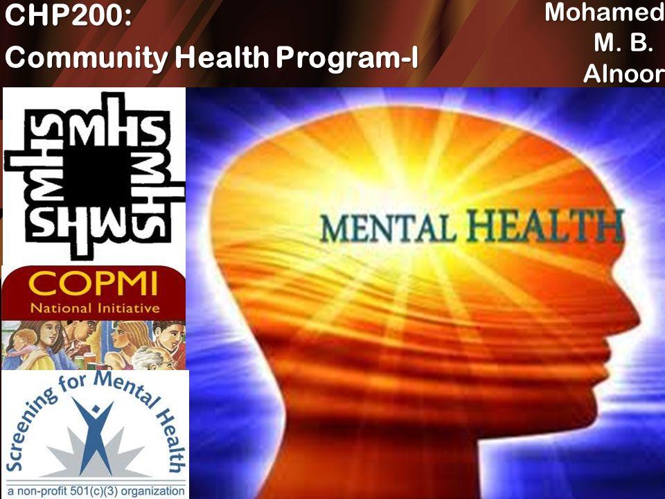 Presentation Name CHP200: Community Health Program-l Mohamed M  B