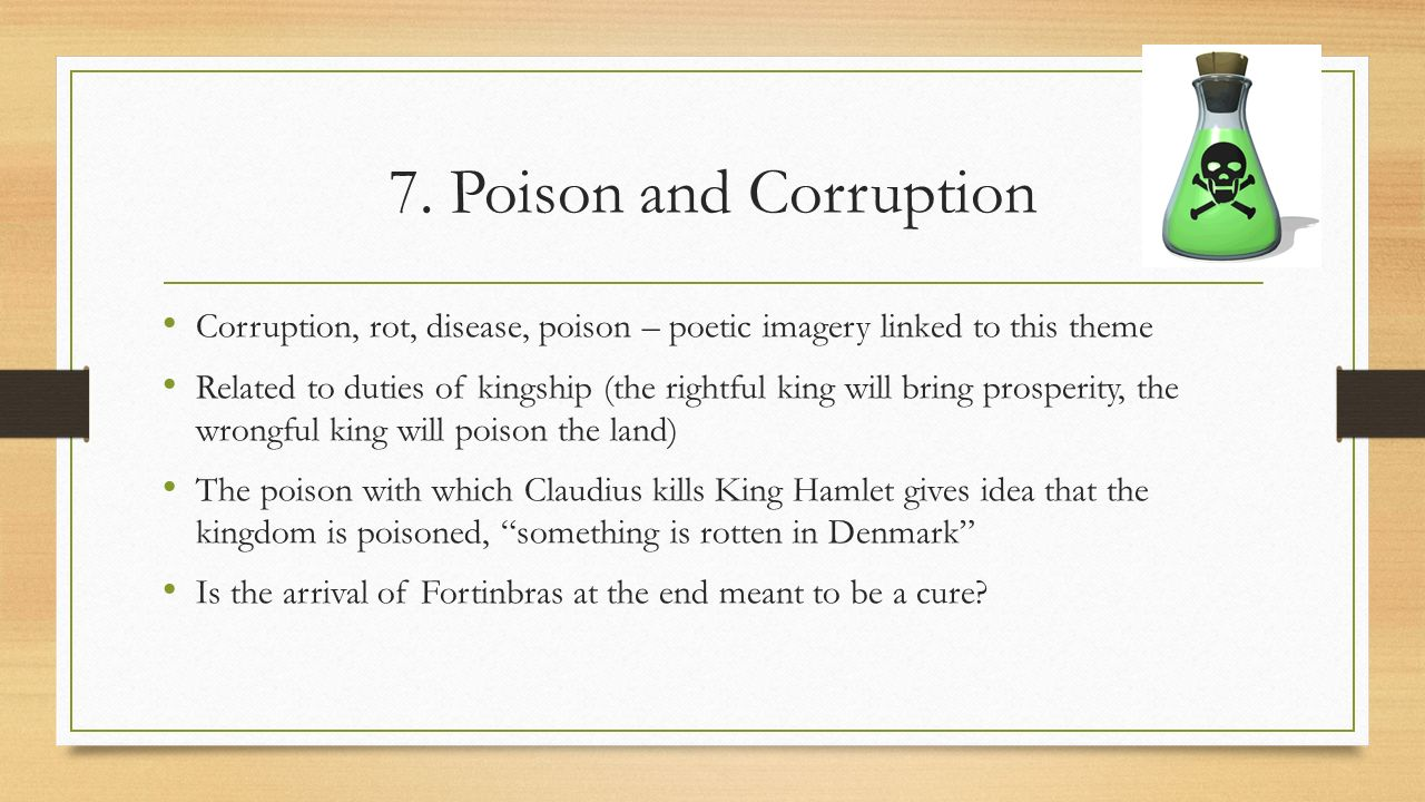 disease decay and poison hamlet William shakespeares hamlet has been considered the greatest tragedy to have  ever been written, in which the theme of disease, decay and poison is.