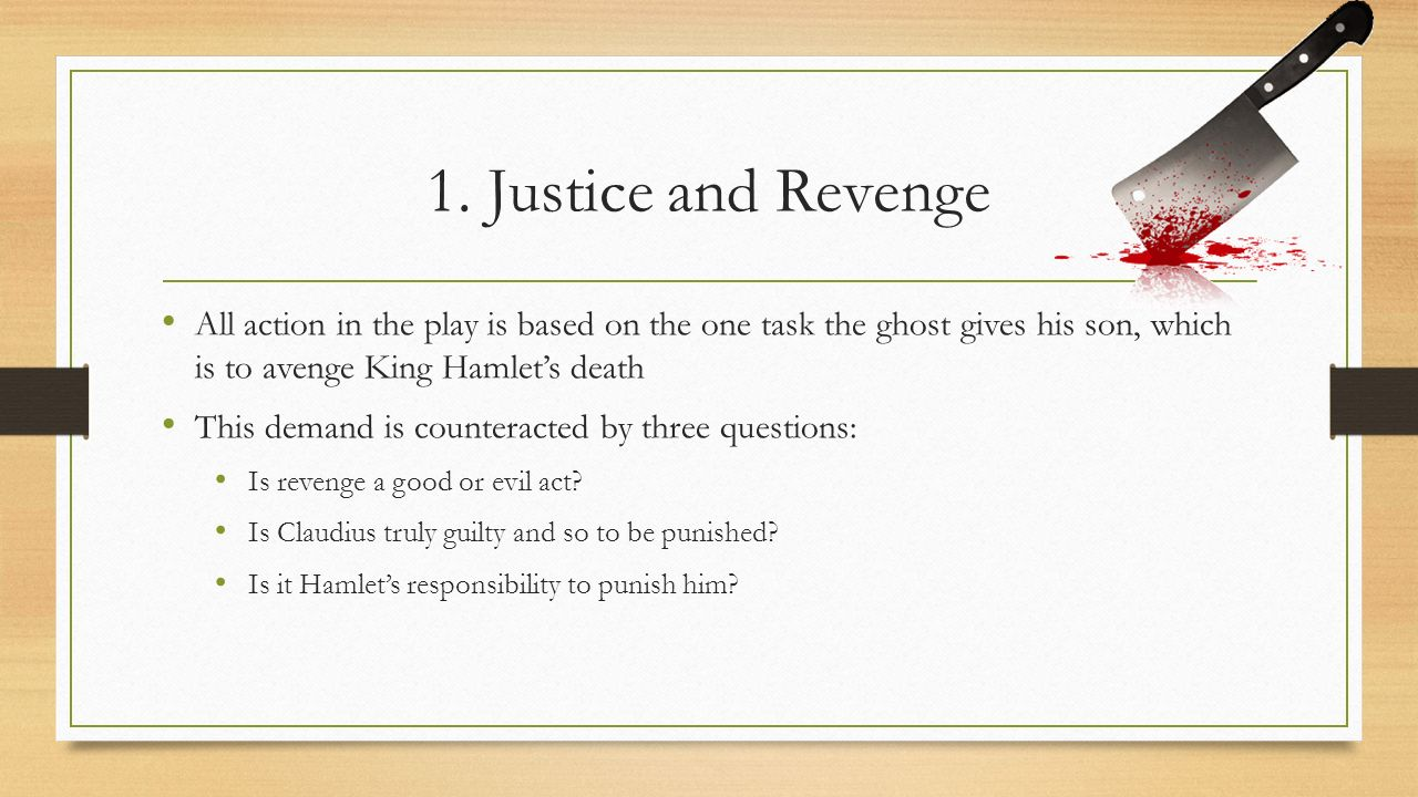 revenge and justice in hamlet essay Hamlet revenge essay paper writing a hamlet revenge essay could be of importance to you this was one of shakespeare's master pieces the hamlet revenge essays generally talk about the ways and methods hamlet used, to avenge his father's murder.