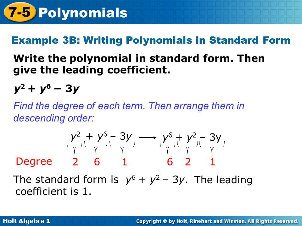 7-5 Polynomials Warm Up Lesson Presentation Lesson Quiz Holt ...