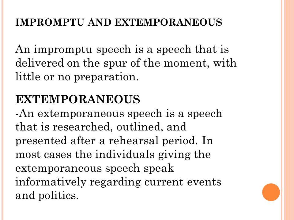 Extemporaneous Definition