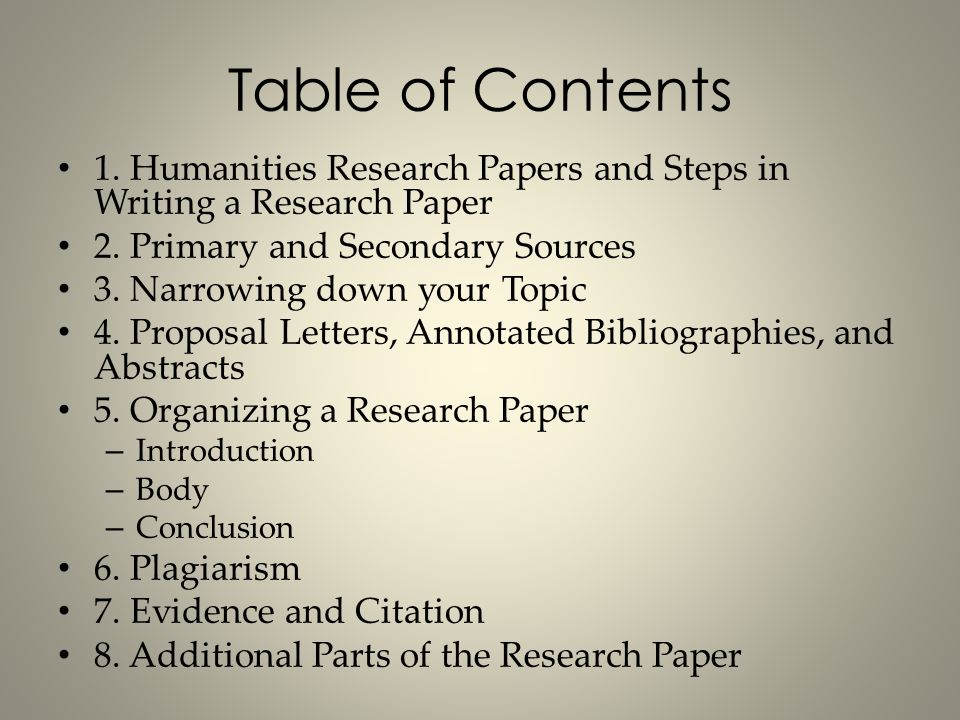 table of contents of a research paper Table of contents page chapter 1 research  formulation of  the research problem  46 the project fame viewers' experiences 67.