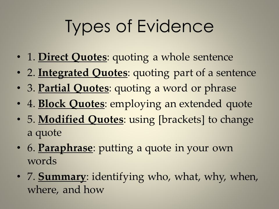 types of evidence in research papers