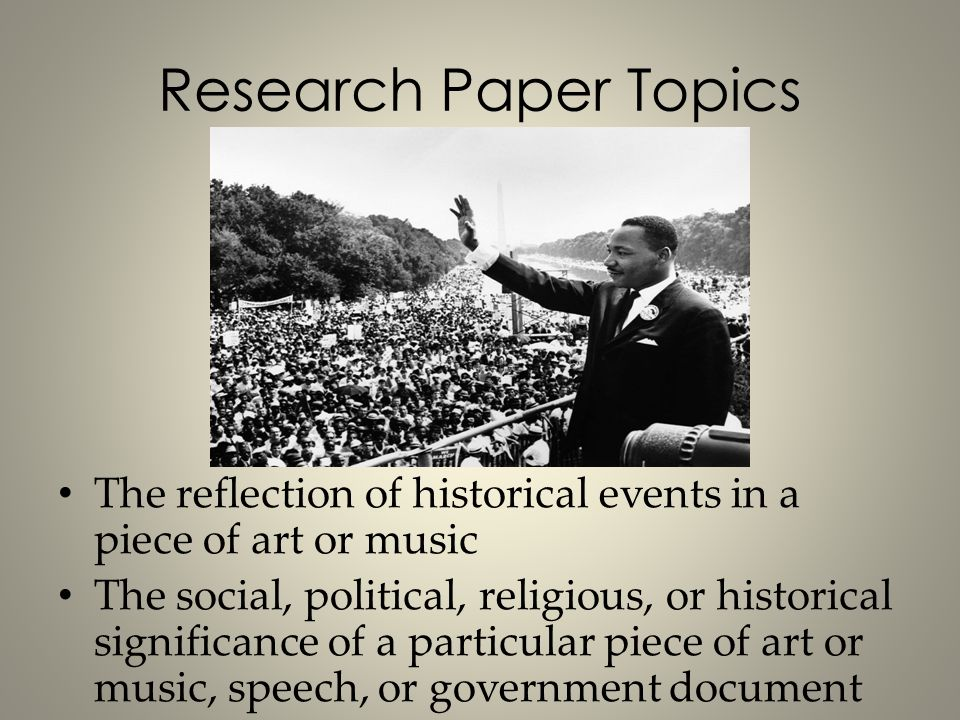 research paper topics on music Music essay topics: great ideas for your academic papers if you have to write an essay on music, you can focus on various subjects, such as the works of a certain composer, the historical development of music, ethnomusicology, or music theory.