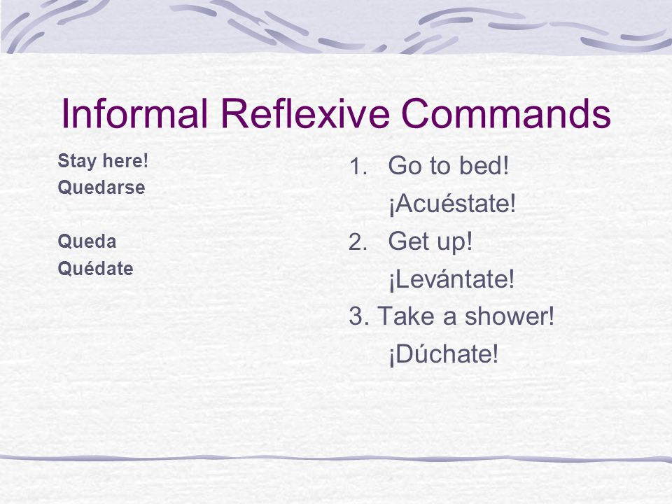 Informal Reflexive Commands