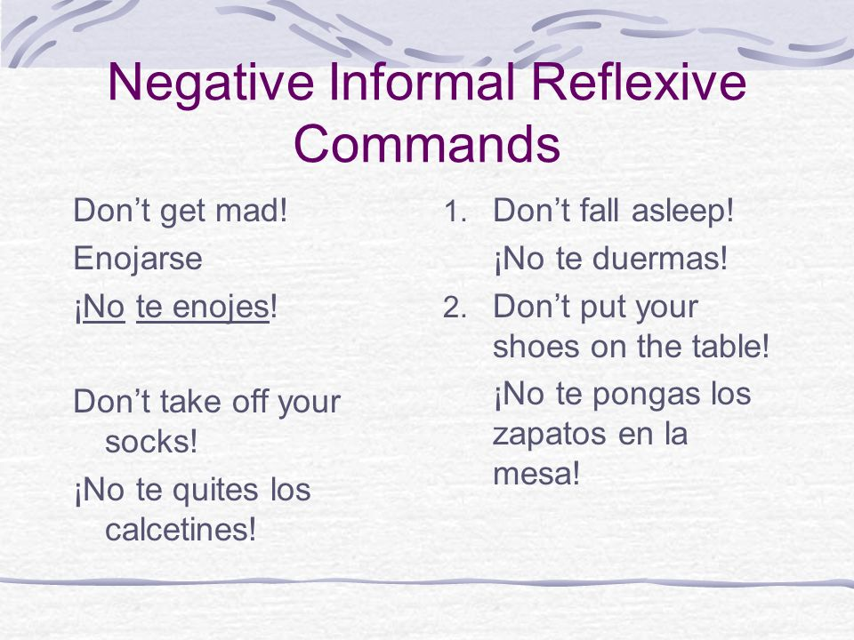 Negative Informal Reflexive Commands