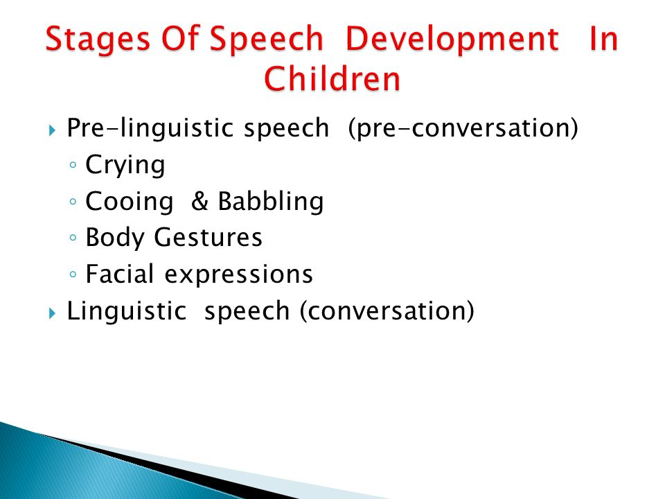 8 stages of speech communication Language and speech development from birth to 8 children's language develops through a series of identifiable stages as outlined in the language development.