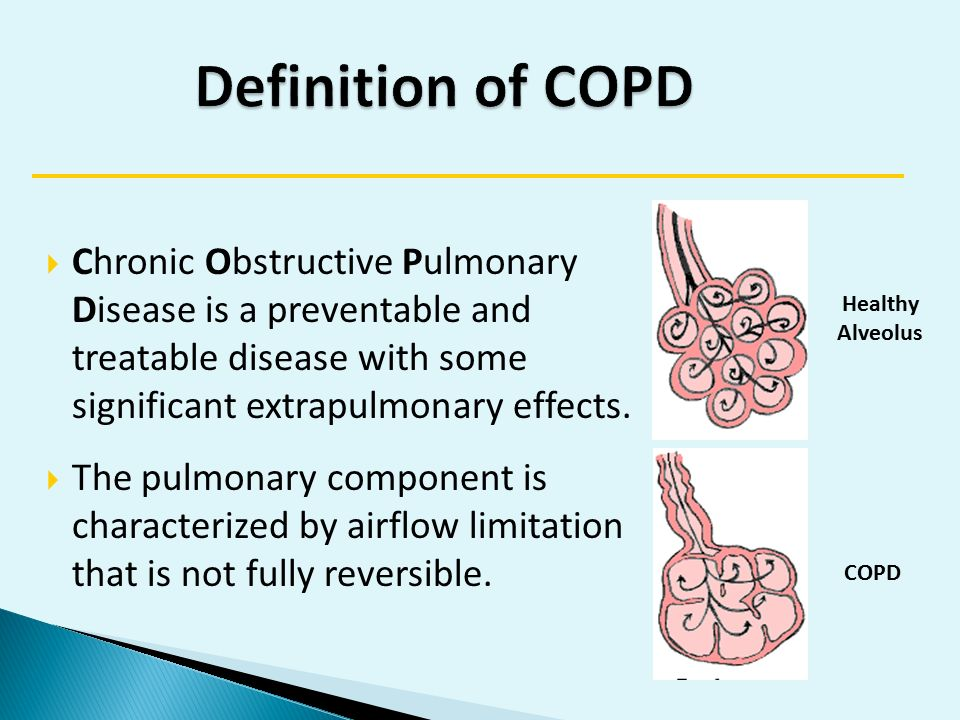 chronic obstructive pulmonary disease copd for Chronic obstructive pulmonary disease (copd) refers to a set of lung diseases that can lead to difficulty breathing smoking is usually a factor.