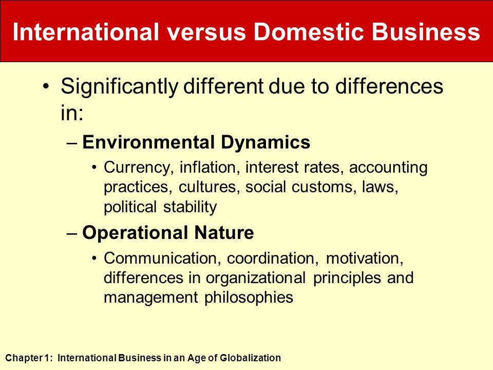 domestic business environment Advertisements: the upcoming discussion will update you about the similarities and differences between international business and domestic business similarities: important similarities between international business and domestic business.