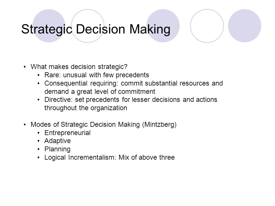Strategic Thinking & Decision Making in Competitive Environments