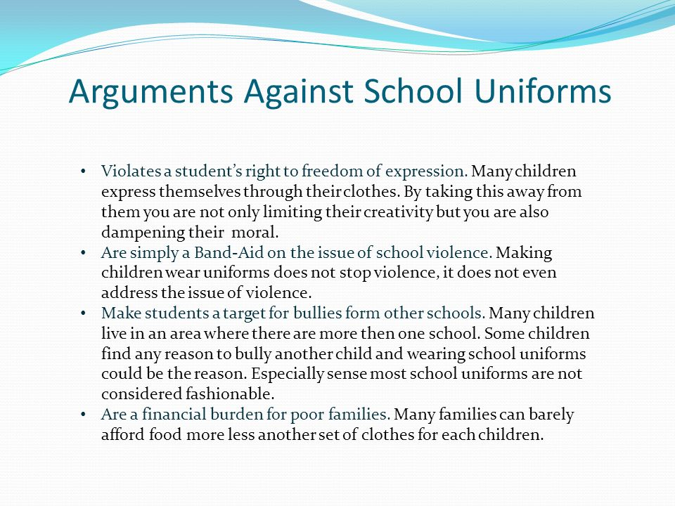 an argument against introducing school uniforms Argument for uniform policies in school an argument against the wearing of uniforms in school an argument in favor of school uniforms in high schools.
