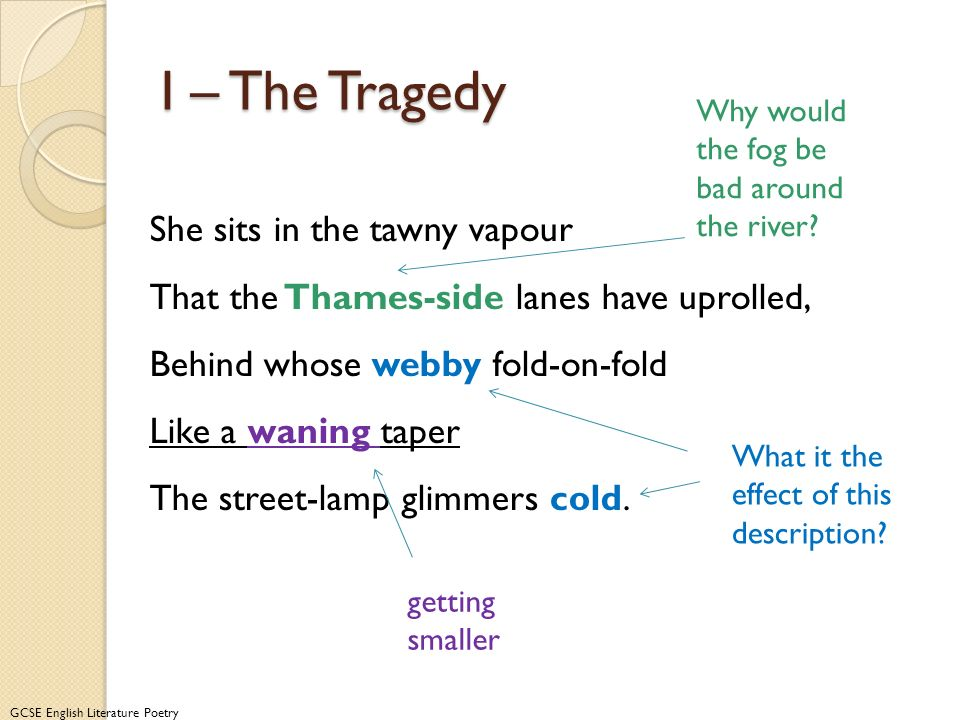 I – The Tragedy Why would the fog be bad around the river