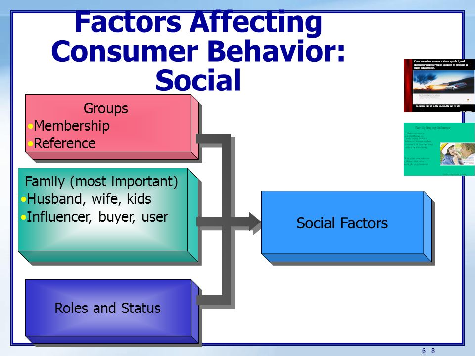 factors that influence buyer behavior Social factors play a very important role in influencing the buying decisions of consumers these factors can be classified as - reference groups, immediate family members, relatives, role of an individual in the society and status in the society.