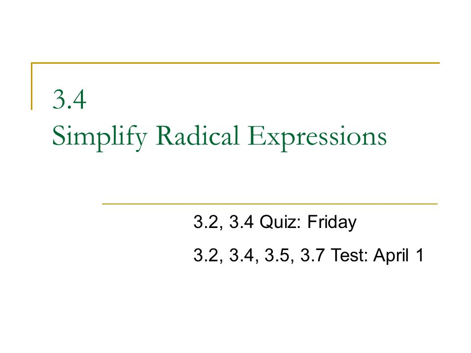 34 Simplify Radical Expressions ppt video online download – Simplifying Radicals Expressions Worksheet