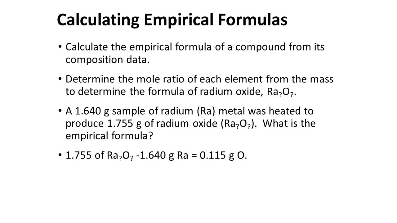 Calculating Empirical Formulas ppt download – Mole Ratio Worksheet