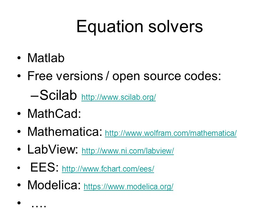 Equation solvers Scilab Matlab