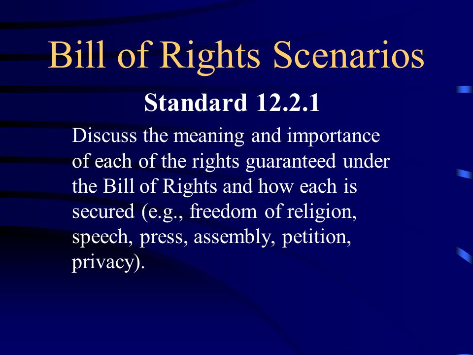 Bill Of Rights Scenarios  Ppt Download