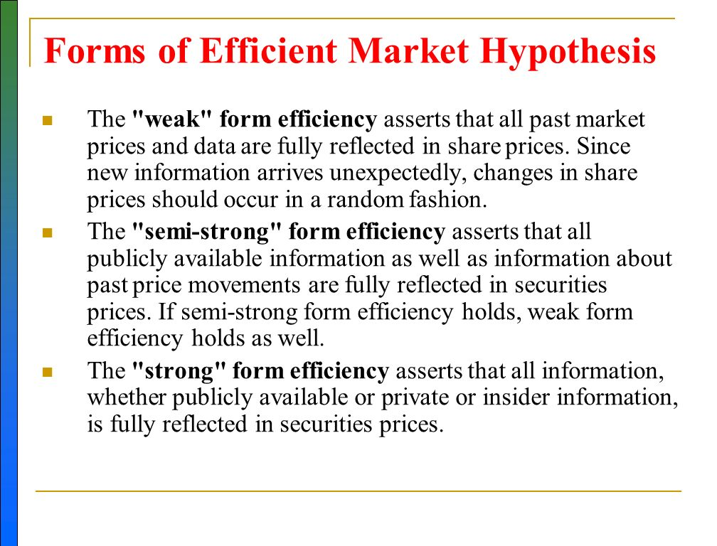 efficient market hypthesis 31 – random walk and efficient market hypothesis (emh)   61 - efficient  market hypothesis, behavioral finance and the results from p/e and p/b testing.