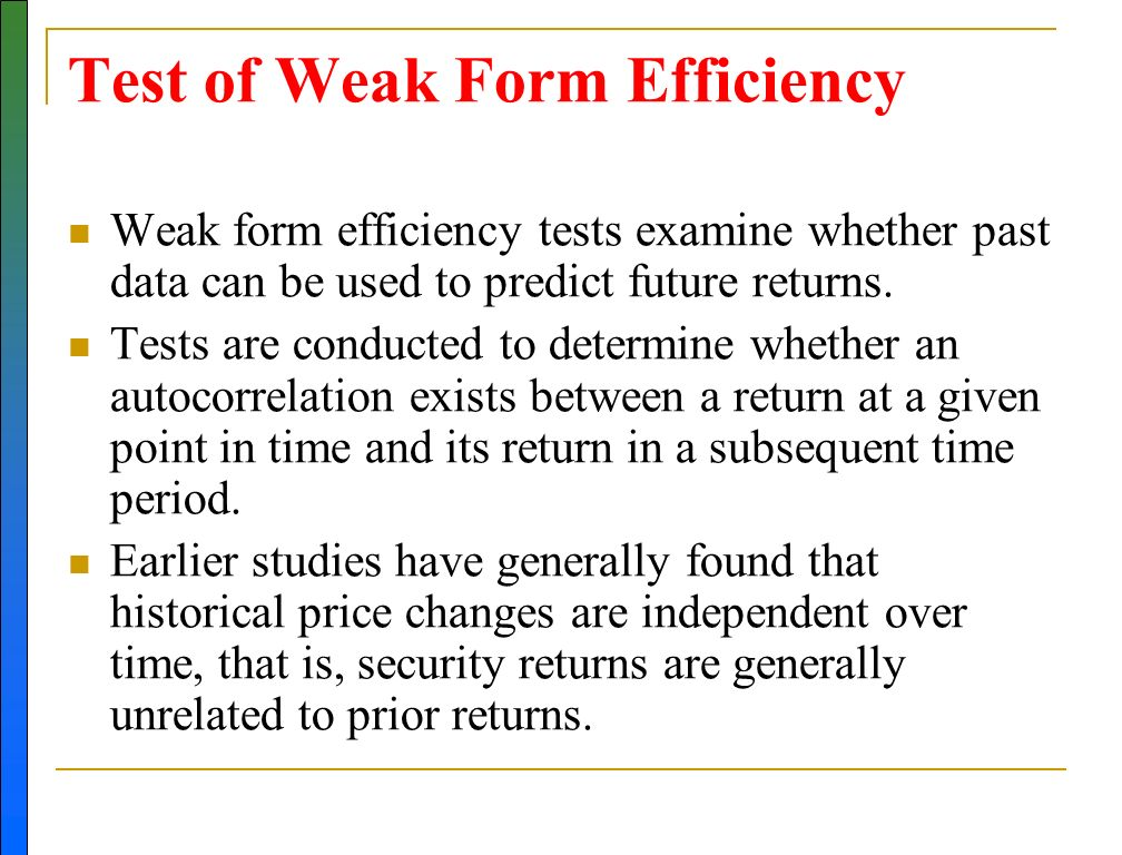 the weak form efficiency of the gcc Stock market performance: evidence from gcc countries samir srairi p0f 1 p, imen kouki p1f 2 weak internal control processes) and human issues resource (quality of management efficiency of the new form of banking and no study concern the relationship between bank.
