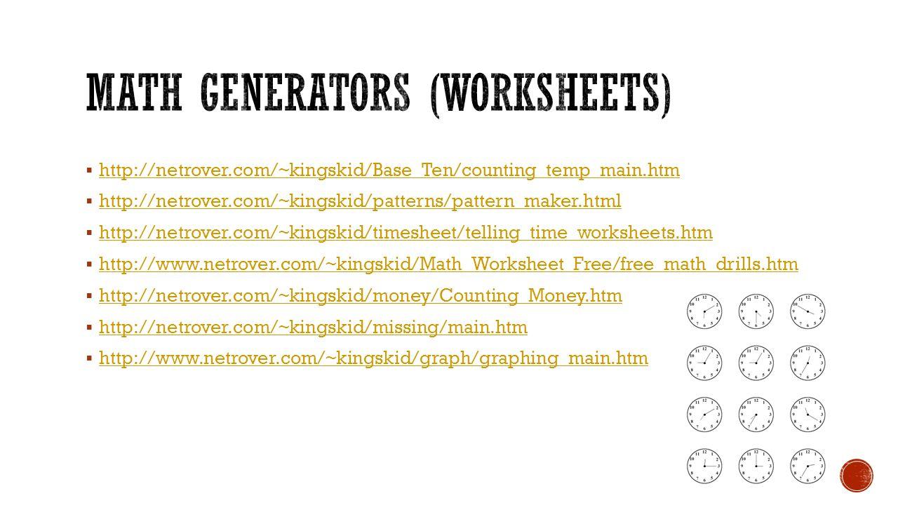 Math generators (worksheets)
