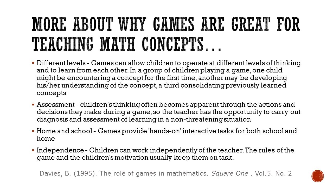 More about why games are great for teaching math concepts…