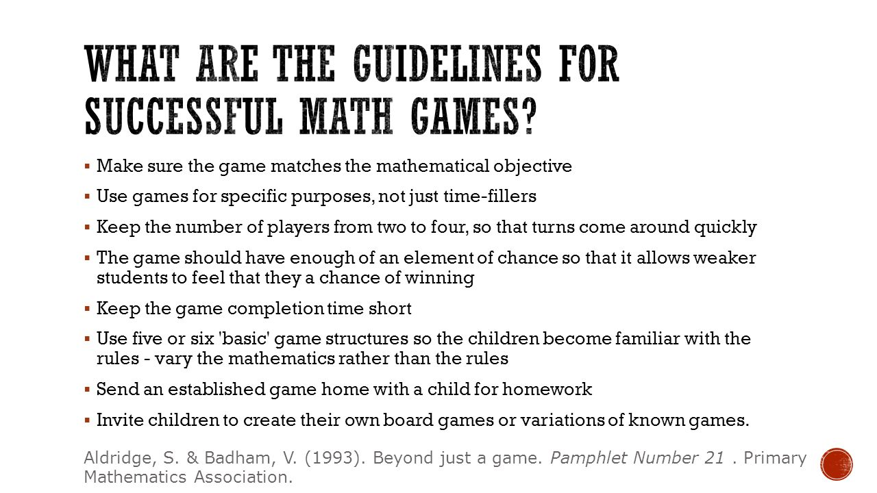 What are the guidelines for successful math games