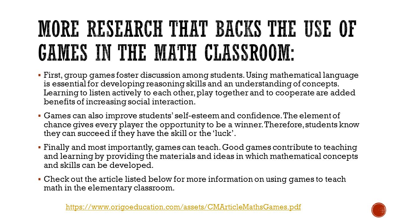 More research that backs the use of games in the math classroom: