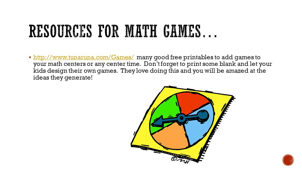 Resources for math games…