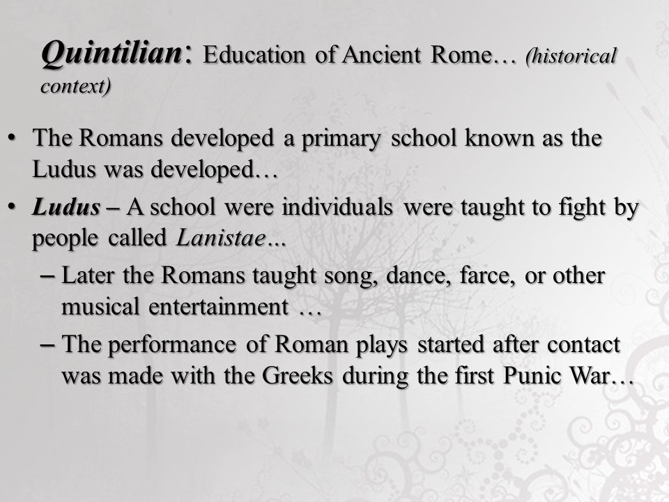 Quintilian roman history historical context ppt video for Farcical other forms