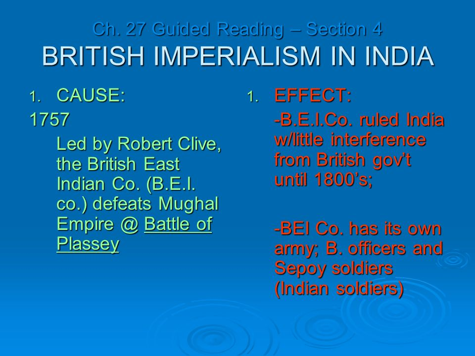 essay on british imperialism in india Imperialism in india dbq essay submitted by: swerv9 this was the same scenario for british imperialism in india over time, the colony and colonizer's opinion on imperialism evolves, as both experience the downside and upside of colonialism.