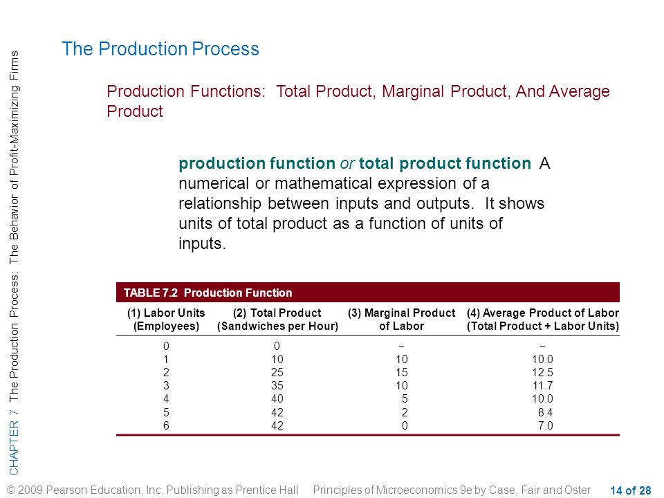 production function relationship between inputs and outputs