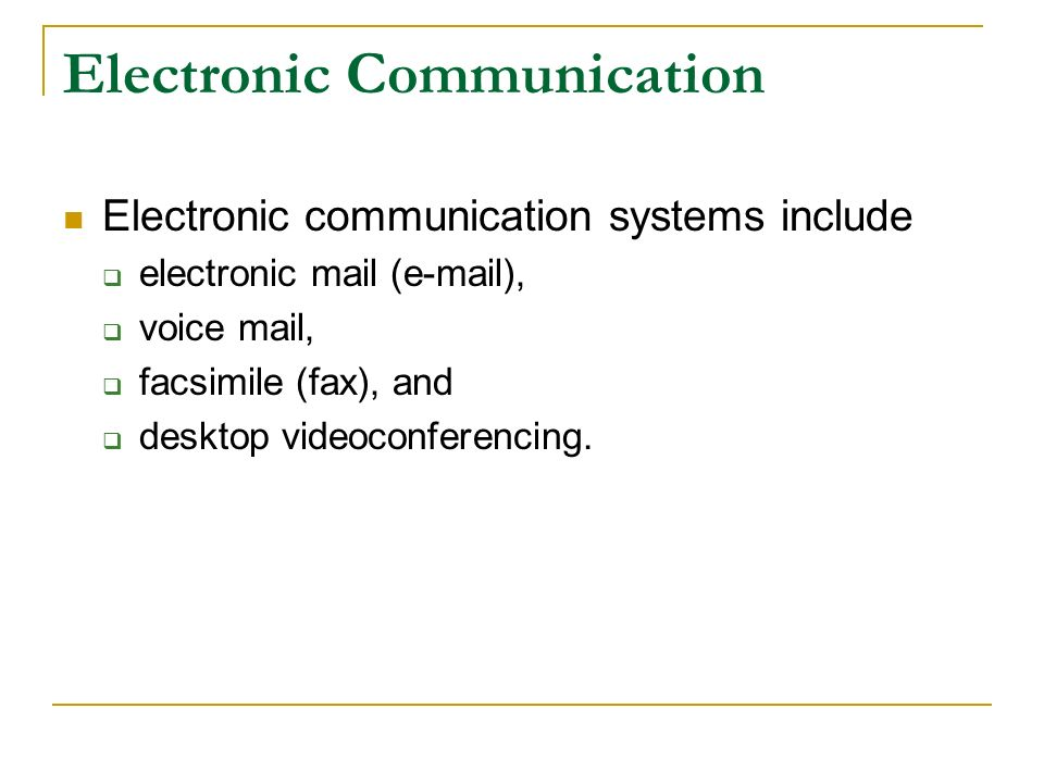 electronic communication system An electronic communications system using electronic signals in telecommunication , a communications system is a collection of individual communications networks, transmission systems, relay stations, tributary stations, and data terminal equipment ( dte ) usually capable of interconnection and interoperation to form an integrated whole.