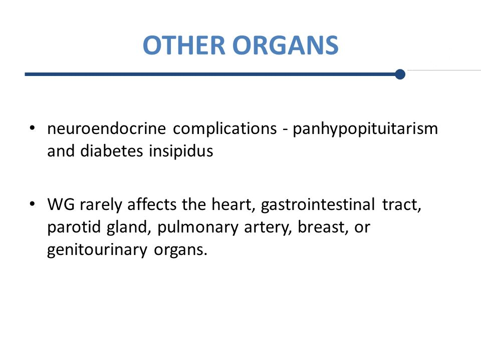 OTHER ORGANS neuroendocrine complications - panhypopituitarism and diabetes insipidus.