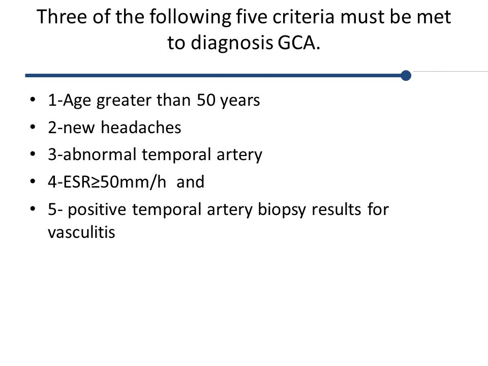 Three of the following five criteria must be met to diagnosis GCA.