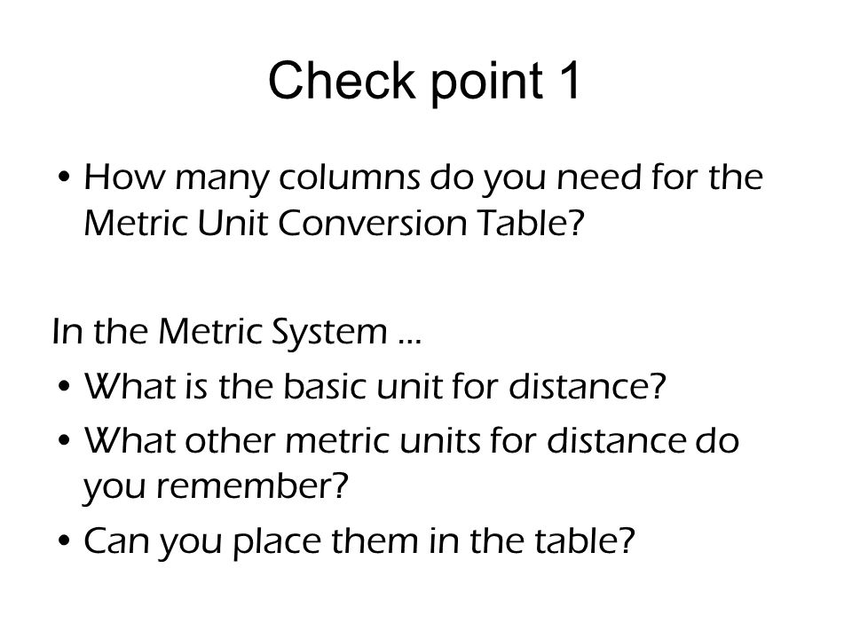 Metric Unit Conversion Table Printable  Best Table